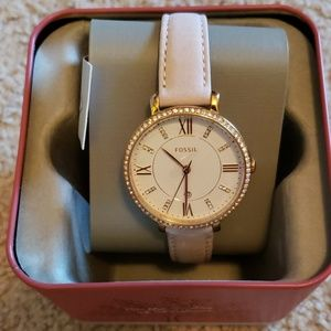Fossil Jacqueline three-hand blush leather watch
